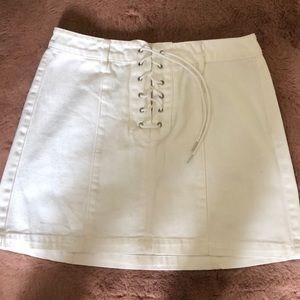 White denim lace up miniskirt